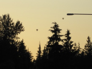 A lamp post watching over two hot air balloons.